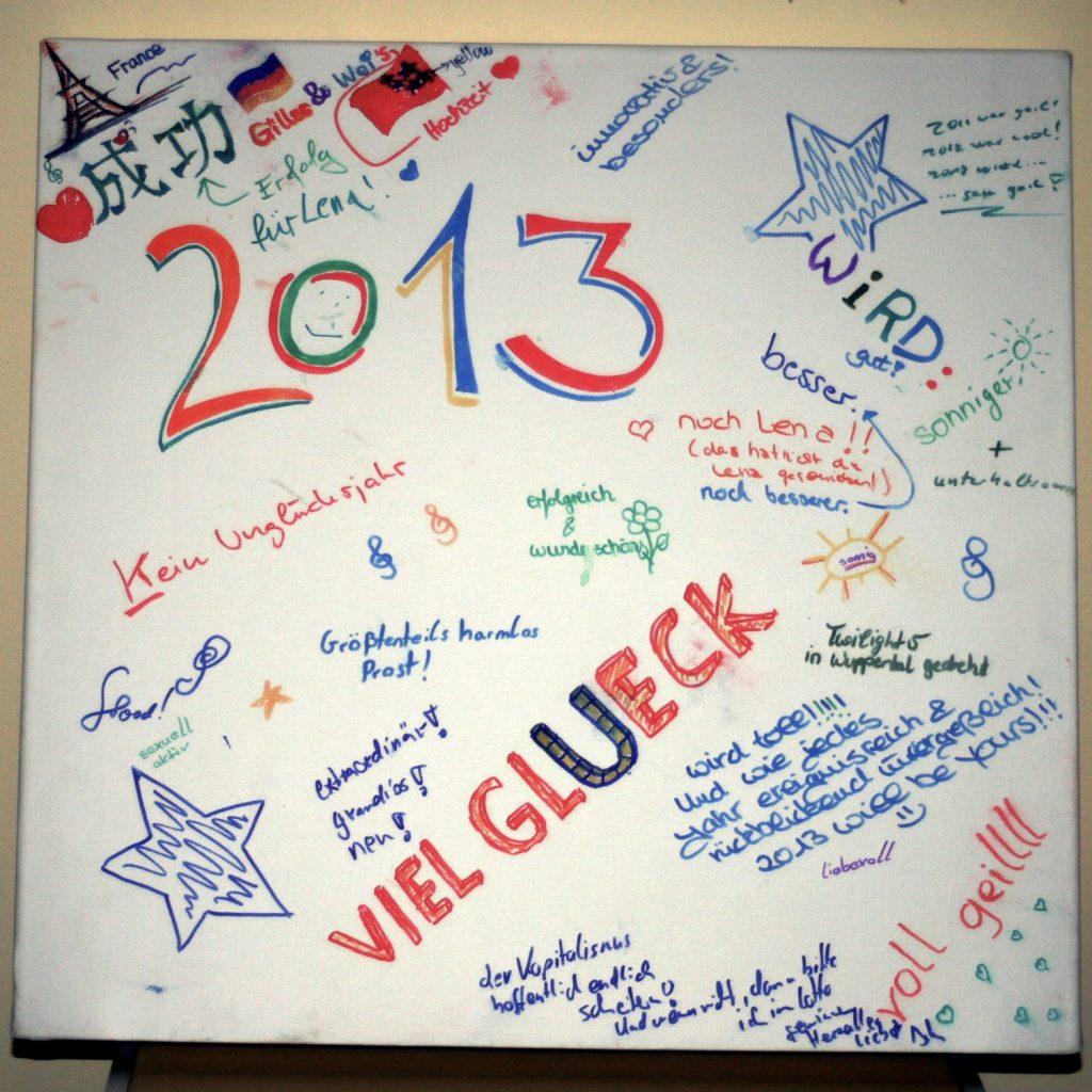 Leinwand mit Wünschen für 2013